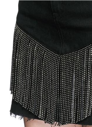 Detail View - Click To Enlarge - SAINT LAURENT - Stud fringe mini denim skirt