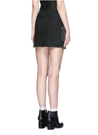 Back View - Click To Enlarge - SAINT LAURENT - Stud fringe mini denim skirt
