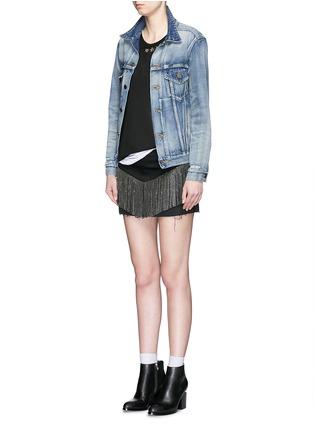 Figure View - Click To Enlarge - SAINT LAURENT - Stud fringe mini denim skirt
