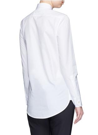 Back View - Click To Enlarge - SAINT LAURENT - Plissé pleat bib poplin shirt