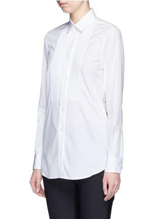 Front View - Click To Enlarge - SAINT LAURENT - Plissé pleat bib poplin shirt