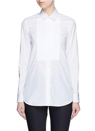 Main View - Click To Enlarge - SAINT LAURENT - Plissé pleat bib poplin shirt