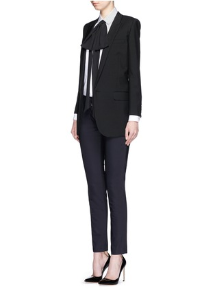 Figure View - Click To Enlarge - SAINT LAURENT - Plissé pleat bib poplin shirt