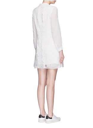 Back View - Click To Enlarge - SAINT LAURENT - Floral broderie anglaise voile shirt dress