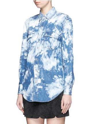 Front View - Click To Enlarge - SAINT LAURENT - Acid wash denim shirt