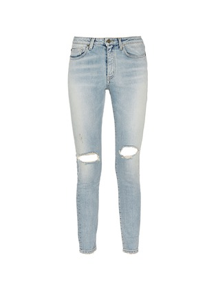 Main View - Click To Enlarge - SAINT LAURENT - Ripped knee light wash jeans
