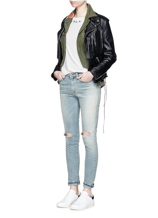 Figure View - Click To Enlarge - SAINT LAURENT - Ripped knee light wash jeans