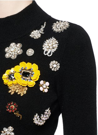 Detail View - Click To Enlarge - Alexander McQueen - Glass crystal embellished cashmere sweater