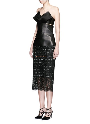Figure View - Click To Enlarge - Alexander McQueen - Obi bow strapless leather top