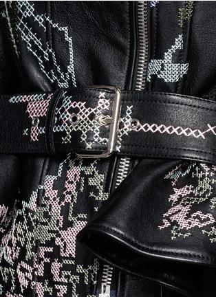 Detail View - Click To Enlarge - Alexander McQueen - Cross stitch flower peplum leather jacket