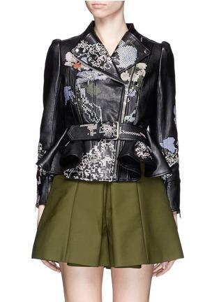 Main View - Click To Enlarge - Alexander McQueen - Cross stitch flower peplum leather jacket