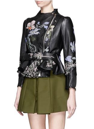 Figure View - Click To Enlarge - Alexander McQueen - Cross stitch flower peplum leather jacket