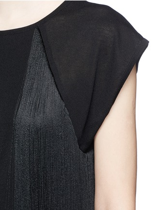 Detail View - Click To Enlarge - Giamba - Fringed jersey knit top