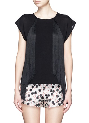 Main View - Click To Enlarge - Giamba - Fringed jersey knit top