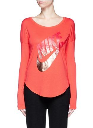 Main View - Click To Enlarge - Nike - 'AS Nike Signal' metallic logo print T-shirt