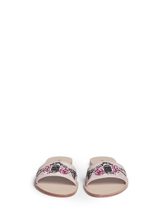 Front View - Click To Enlarge - Alexander McQueen - Poppy skull embroidery slide sandals