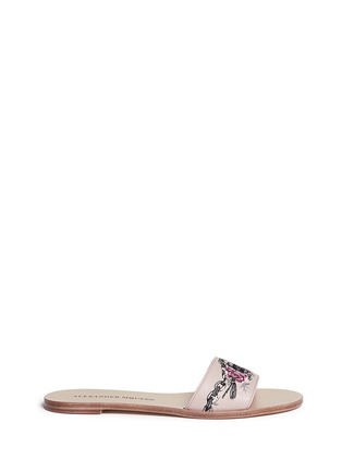 Main View - Click To Enlarge - Alexander McQueen - Poppy skull embroidery slide sandals