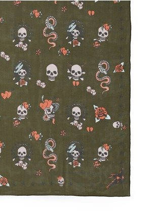 Detail View - Click To Enlarge - Alexander McQueen - Skull tattoo silk chiffon scarf