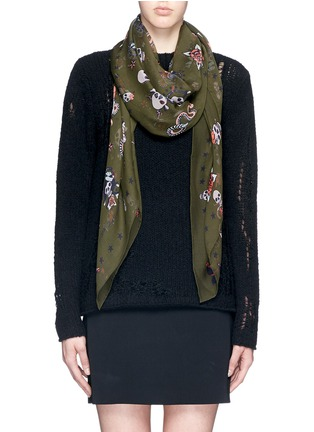 Figure View - Click To Enlarge - Alexander McQueen - Skull tattoo silk chiffon scarf