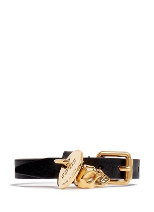 Main View - Click To Enlarge - Alexander McQueen - Skull charm wrap leather bracelet