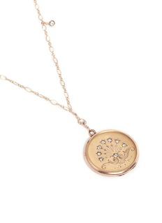 Antique Lockets White quartz 14k gold chain round antique locket necklace