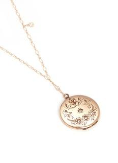 Antique Lockets White quartz 14k gold floral round antique locket necklace