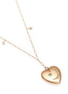 Antique Lockets White quartz 14k gold chain heart antique locket necklace