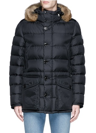 Main View - Click To Enlarge - MONCLER - 'Cluny' detachable coyote fur hood down jacket