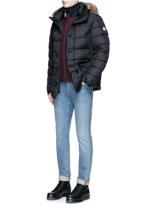 Figure View - Click To Enlarge - MONCLER - 'Cluny' detachable coyote fur hood down jacket