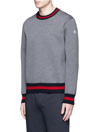 Front View - Click To Enlarge - Moncler - Contrast trim cotton neoprene sweatshirt