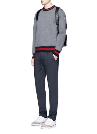 Figure View - Click To Enlarge - Moncler - Contrast trim cotton neoprene sweatshirt