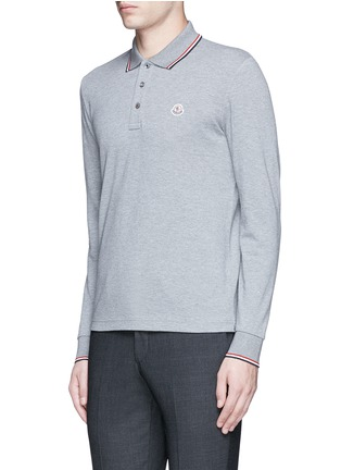 Front View - Click To Enlarge - Moncler - Long sleeve cotton piqué polo shirt