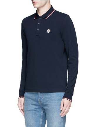 Front View - Click To Enlarge - Moncler - Long sleeve cotton piqué polo shirt