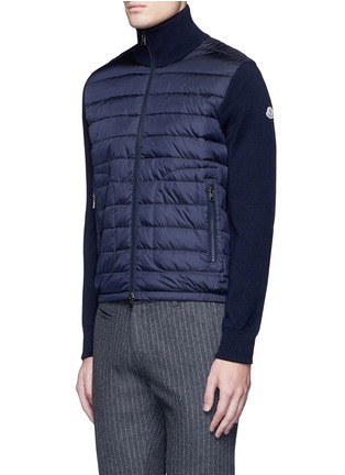 Front View - Click To Enlarge - MONCLER - 'Maglione Tricot' down front zip cardigan