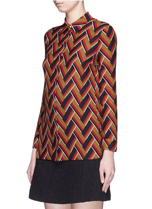 Front View - Click To Enlarge - GUCCI - Chevron stripe silk-wool shirt