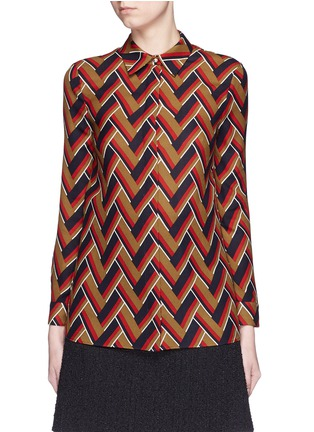 Main View - Click To Enlarge - GUCCI - Chevron stripe silk-wool shirt