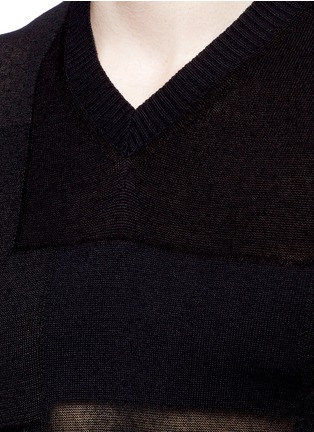 Detail View - Click To Enlarge - COMME DES GARÇONS HOMME - Patchwork cotton-wool-linen sweater