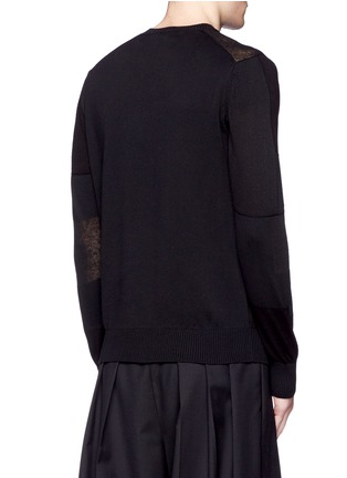 Back View - Click To Enlarge - COMME DES GARÇONS HOMME - Patchwork cotton-wool-linen sweater