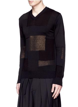 Front View - Click To Enlarge - COMME DES GARÇONS HOMME - Patchwork cotton-wool-linen sweater