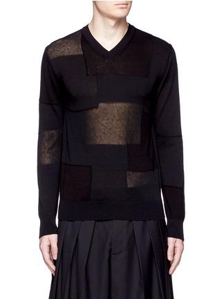 Main View - Click To Enlarge - Comme Des Garçons Homme - Patchwork cotton-wool-linen sweater