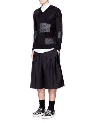 Figure View - Click To Enlarge - Comme Des Garçons Homme - Patchwork cotton-wool-linen sweater