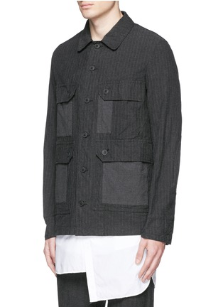 Front View - Click To Enlarge - Comme Des Garçons Homme - Stripe garment dyed cotton blend field jacket