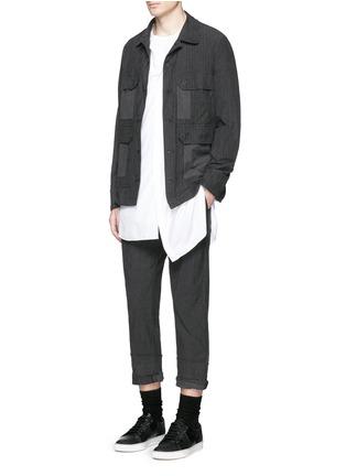 Figure View - Click To Enlarge - Comme Des Garçons Homme - Stripe garment dyed cotton blend field jacket