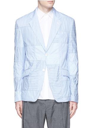 Main View - Click To Enlarge - Comme Des Garçons Homme - Stripe patchwork soft cotton blazer