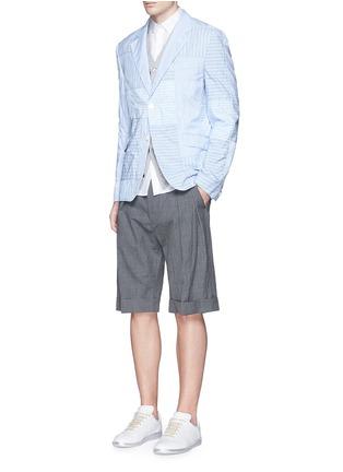 Figure View - Click To Enlarge - Comme Des Garçons Homme - Stripe patchwork soft cotton blazer