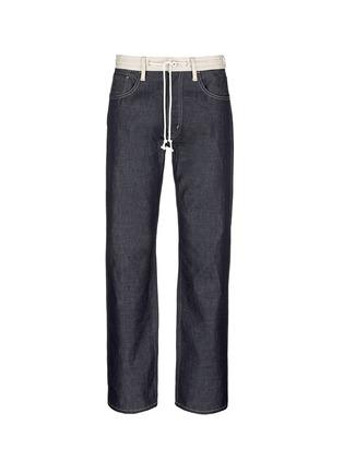 Main View - Click To Enlarge - Comme Des Garçons Homme - Contrast drawstring waist cotton-linen jeans