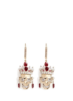 Main View - Click To Enlarge - Alexander McQueen - Swarovski crystal royal skull earrings