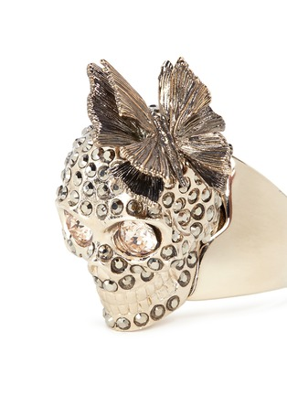 Detail View - Click To Enlarge - Alexander McQueen - Butterfly skull Swarovski crystal ring