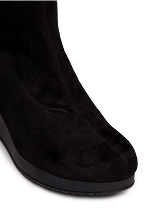 Detail View - Click To Enlarge - Robert Clergerie - 'Natuj' stretch suede wedge thigh high boots