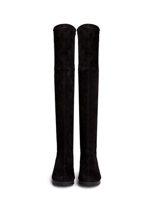 Figure View - Click To Enlarge - Robert Clergerie - 'Natuj' stretch suede wedge thigh high boots